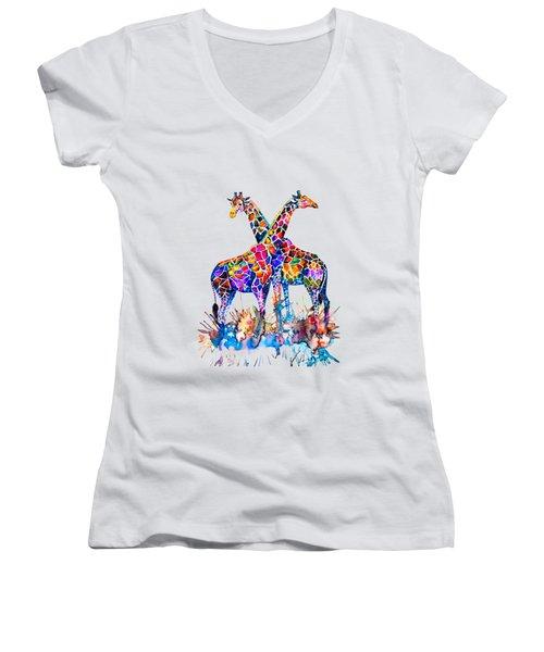 Giraffes Women's V-Neck (Athletic Fit)