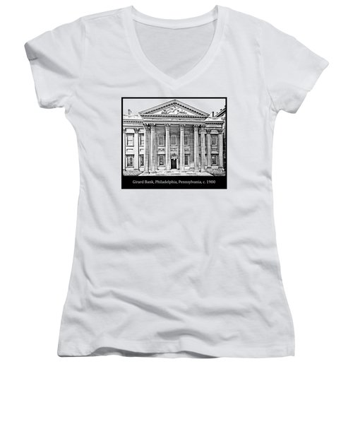 Women's V-Neck T-Shirt (Junior Cut) featuring the photograph Girard Bank Building Philadelphia C 1900 Vintage Photograph by A Gurmankin