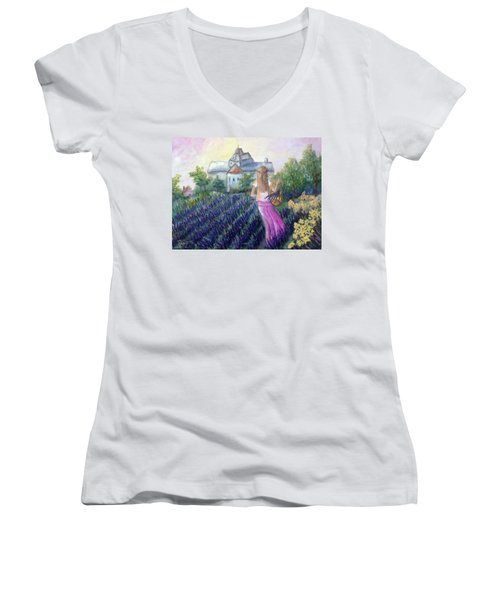 Girl In A Lavender Field  Women's V-Neck (Athletic Fit)
