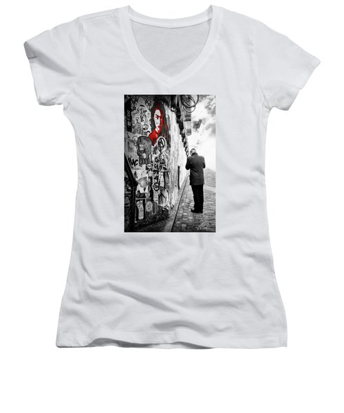 Girl In Red Women's V-Neck T-Shirt (Junior Cut) by Anthony Citro