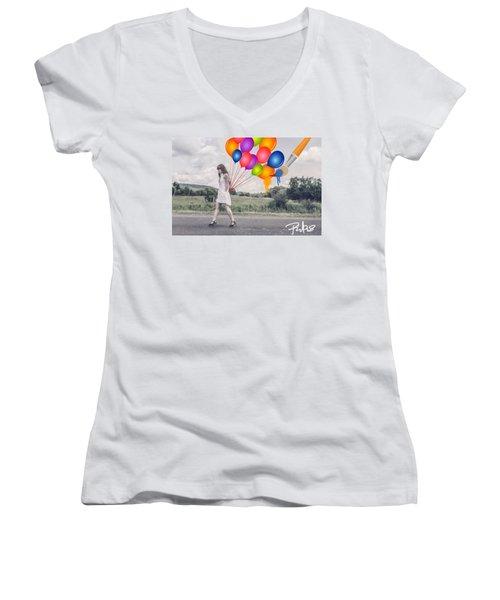 Girl Walking With Ballons #1 Women's V-Neck T-Shirt (Junior Cut) by Diana Riukas