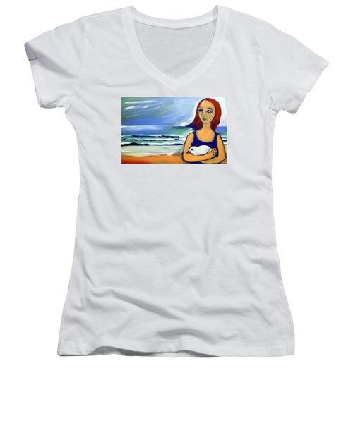 Women's V-Neck T-Shirt (Junior Cut) featuring the painting Girl With Bird by Winsome Gunning