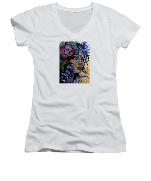Girl With Poppy Flower Women's V-Neck