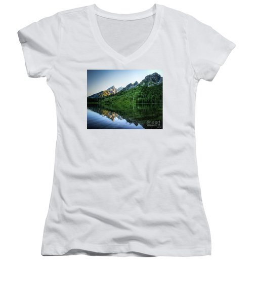 Women's V-Neck T-Shirt (Junior Cut) featuring the photograph Glacier Lake by Rebecca Hiatt