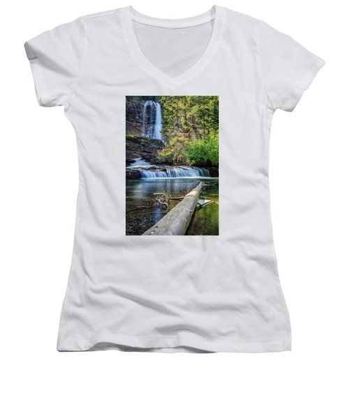 Glacier National Park Waterfall 3 Women's V-Neck (Athletic Fit)