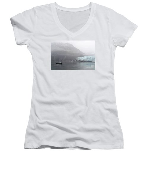 Glacier Ride Women's V-Neck T-Shirt (Junior Cut) by Zawhaus Photography
