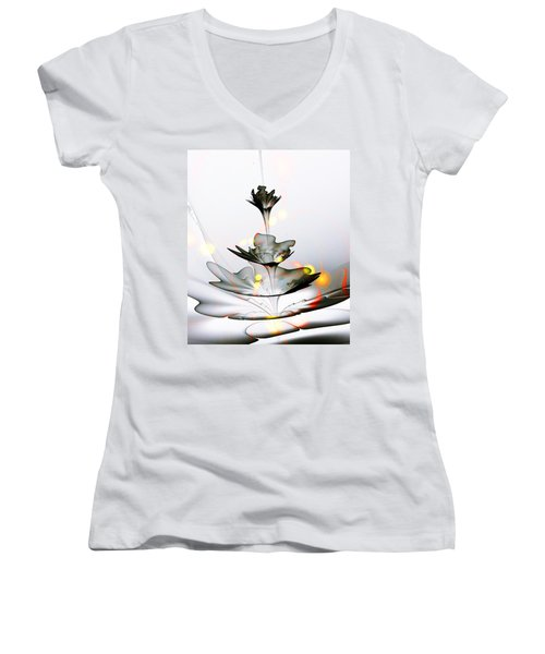 Women's V-Neck T-Shirt featuring the mixed media Glass Flower by Anastasiya Malakhova