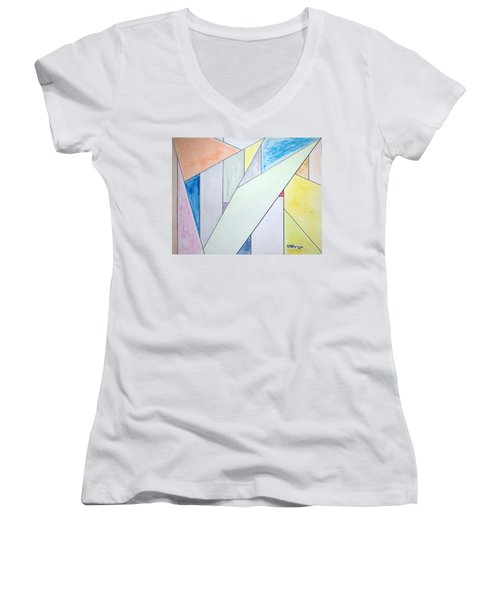 Women's V-Neck T-Shirt (Junior Cut) featuring the mixed media Glass-scrapers by J R Seymour