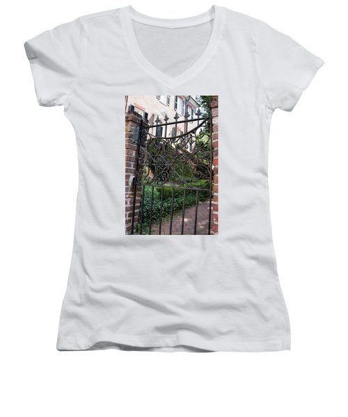Glebe House Women's V-Neck T-Shirt (Junior Cut) by Ed Waldrop