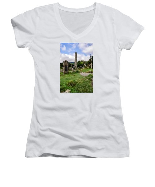 Glendalough Tower Ireland Women's V-Neck (Athletic Fit)