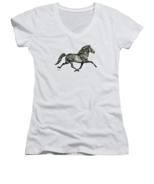 Women's V-Neck T-Shirt (Junior Cut) featuring the painting Gletta by Shari Nees