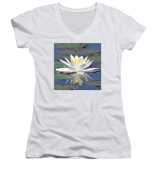 Glorious White Water Lily Women's V-Neck T-Shirt