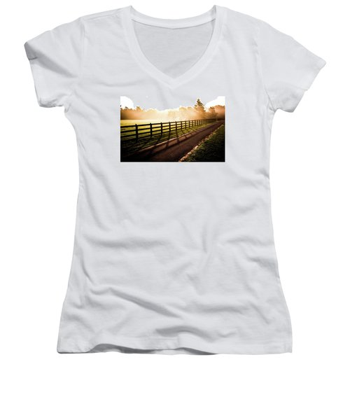 Women's V-Neck T-Shirt (Junior Cut) featuring the photograph Glowing Fog At Sunrise by Shelby Young