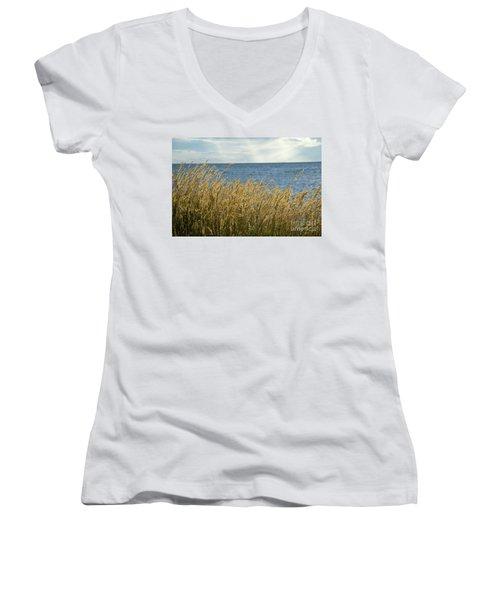 Glowing Grass By The Coast Women's V-Neck T-Shirt (Junior Cut) by Kennerth and Birgitta Kullman