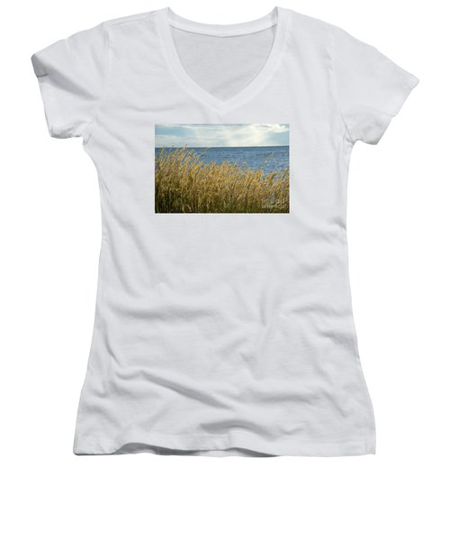 Glowing Grass By The Coast Women's V-Neck T-Shirt