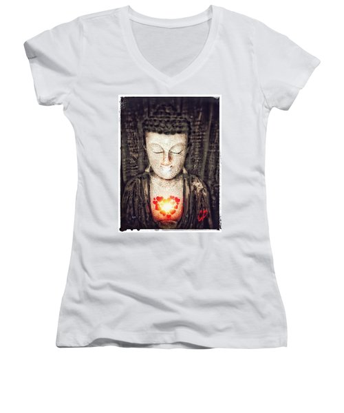 Glowing Heart Women's V-Neck