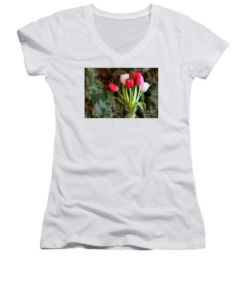 Glowing Women's V-Neck T-Shirt (Junior Cut) by Joan Bertucci