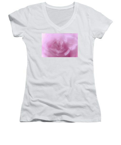 Women's V-Neck T-Shirt (Junior Cut) featuring the photograph Glowing Pink Rose by Jenny Rainbow
