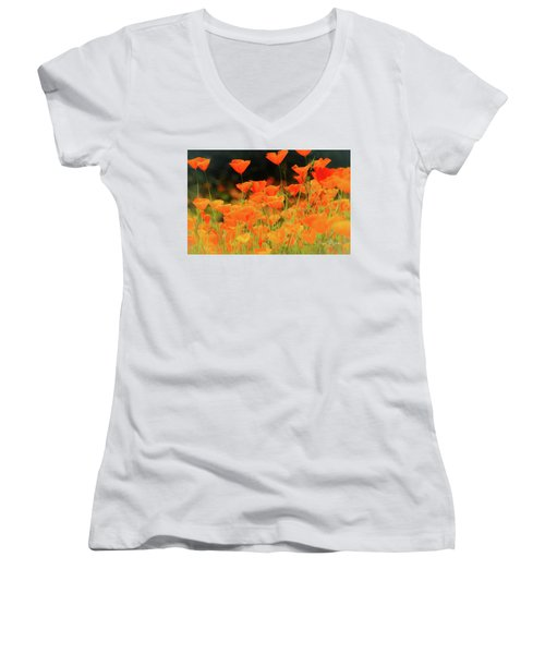 Glowing Poppies Women's V-Neck (Athletic Fit)