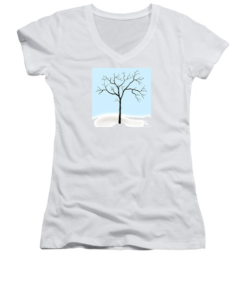 Gnarled In Winter Women's V-Neck T-Shirt