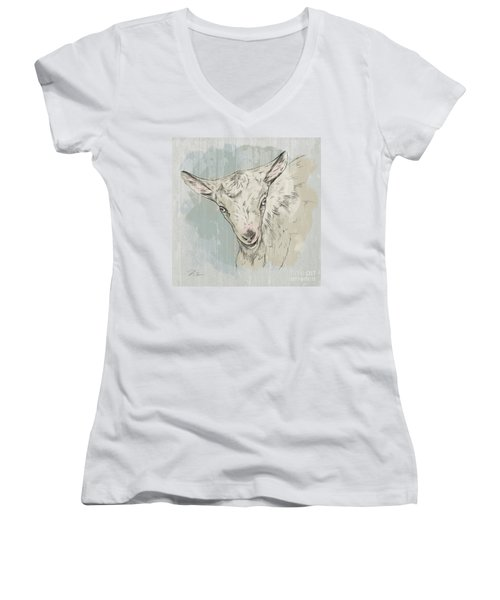 Goat Portrait-farm Animals Women's V-Neck
