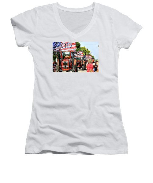 Women's V-Neck T-Shirt (Junior Cut) featuring the photograph God Bless America And Farmers by Toni Hopper