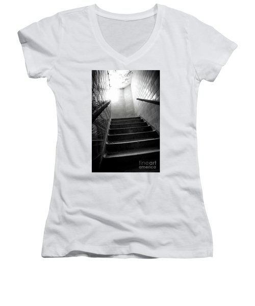 Going Up? Women's V-Neck T-Shirt (Junior Cut) by Randall Cogle