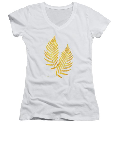 Women's V-Neck T-Shirt (Junior Cut) featuring the mixed media Gold Fern Leaf Art by Christina Rollo