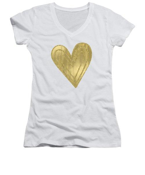 Gold Glam Heart Women's V-Neck T-Shirt (Junior Cut) by P S