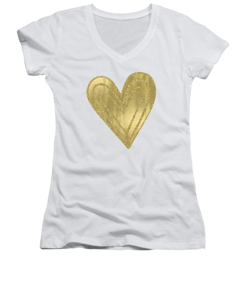 Gold Glam Heart Women's V-Neck T-Shirt