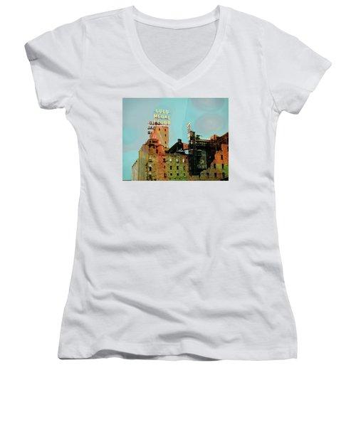 Women's V-Neck T-Shirt (Junior Cut) featuring the photograph Gold Medal Flour Pop Art by Susan Stone