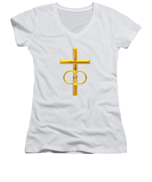 Golden 3d Look Cross With Wedding Rings Women's V-Neck T-Shirt