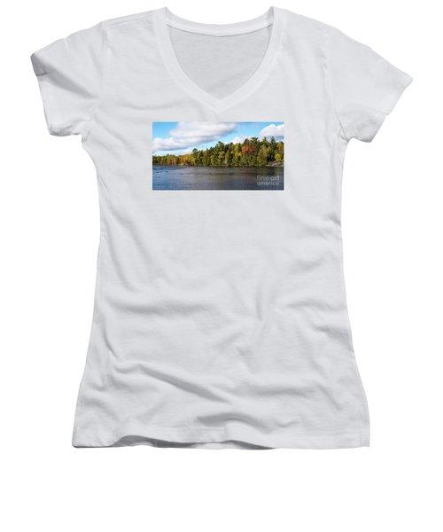 Golden Autum Day Women's V-Neck T-Shirt