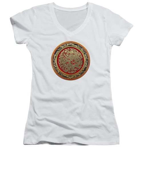 Golden Chinese Dragon White Leather  Women's V-Neck T-Shirt