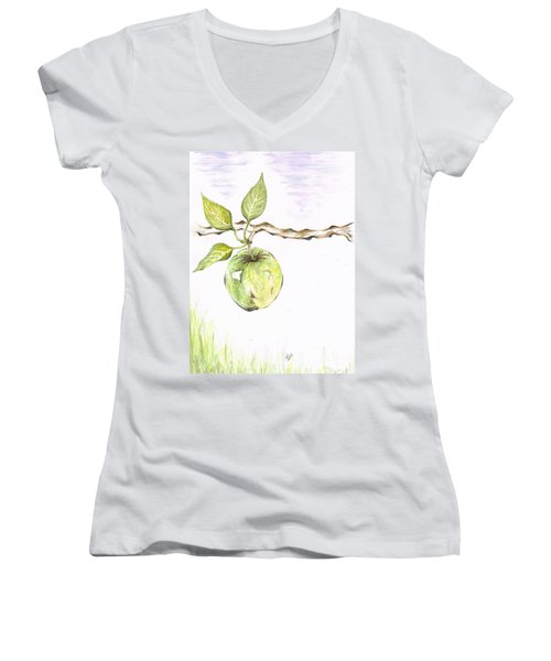 Golden Delishous Apple Women's V-Neck T-Shirt