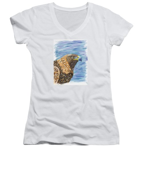Golden Eagle Women's V-Neck T-Shirt (Junior Cut) by Scott Wilmot