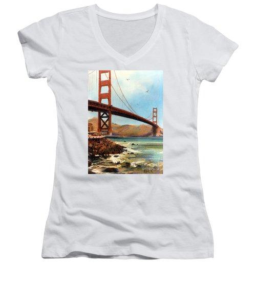 Golden Gate Bridge Looking North Women's V-Neck T-Shirt (Junior Cut) by Donald Maier