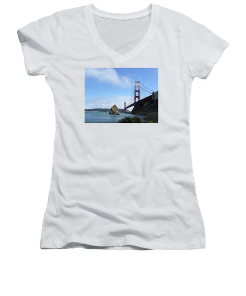 Women's V-Neck T-Shirt (Junior Cut) featuring the photograph Golden Gate Bridge by Sumoflam Photography