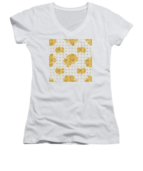 Women's V-Neck T-Shirt (Junior Cut) featuring the painting Golden Gold Blush Pink Floral Rose Cluster W Dot Bedding Home Decor by Audrey Jeanne Roberts