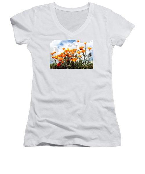 Golden Poppies Women's V-Neck T-Shirt