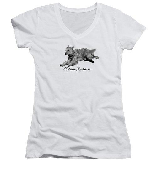 Golden Retriever Women's V-Neck T-Shirt (Junior Cut) by Ann Lauwers