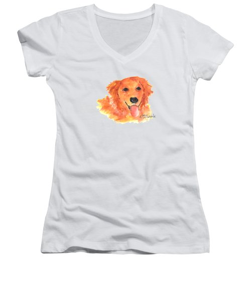 Golden Retriever Women's V-Neck T-Shirt (Junior Cut) by Kathleen McElwaine