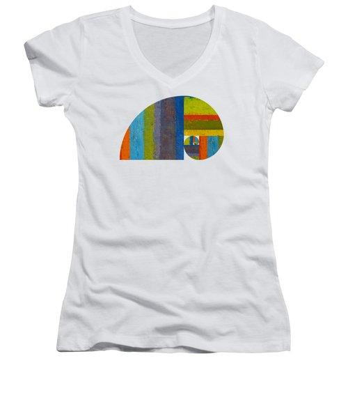 Golden Spiral Study Women's V-Neck T-Shirt (Junior Cut) by Michelle Calkins