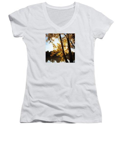 Golden Trees In Autumn Sindelfingen Germany Women's V-Neck T-Shirt