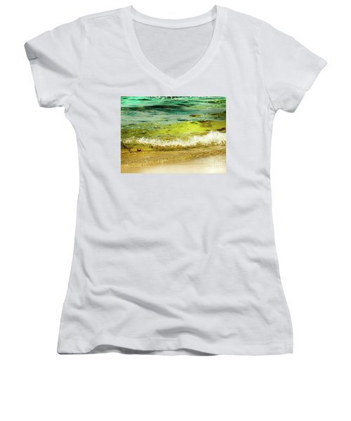 Golden Waves At Pacific Grove California Near Lover's Point Women's V-Neck T-Shirt