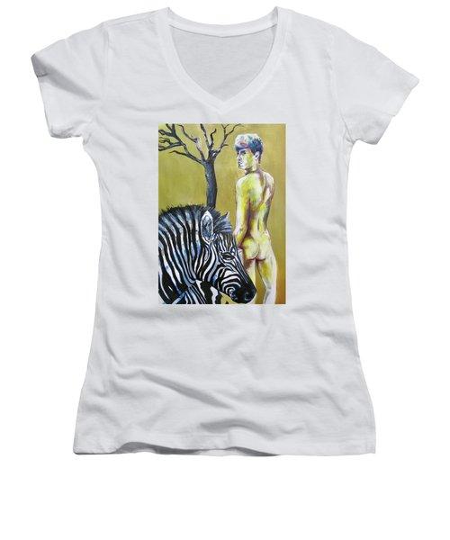 Golden Zebra High Noon Women's V-Neck T-Shirt
