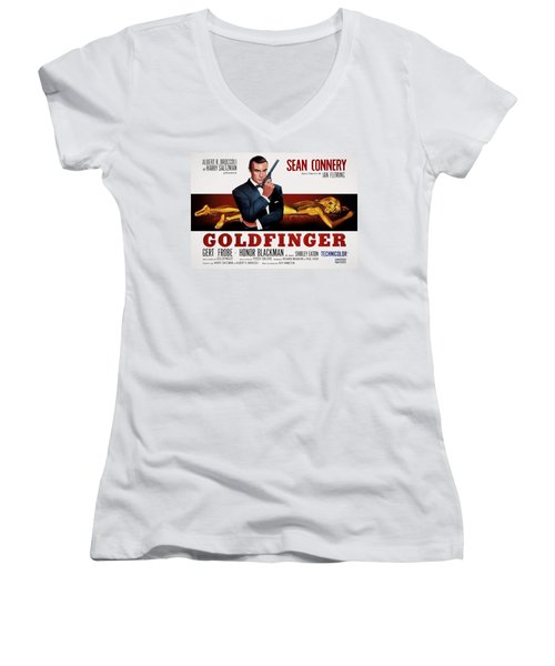 Goldfinger James Bond French Lobby Poster Painterly Women's V-Neck T-Shirt