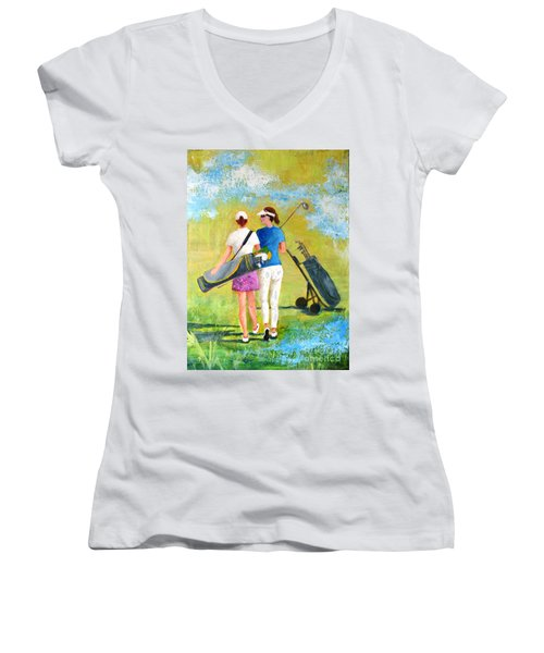Golf Buddies #1 Women's V-Neck T-Shirt (Junior Cut) by Betty M M Wong