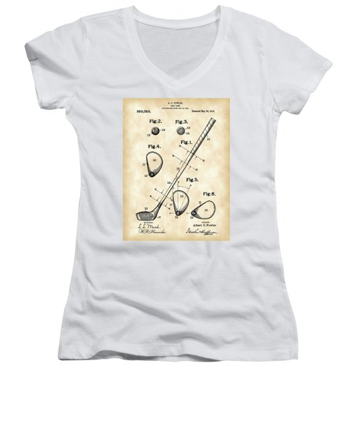 Golf Club Patent 1909 - Vintage Women's V-Neck T-Shirt (Junior Cut) by Stephen Younts