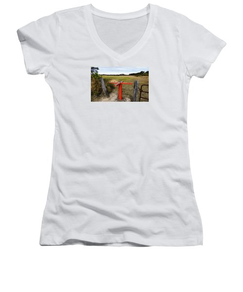 Women's V-Neck T-Shirt (Junior Cut) featuring the photograph Golf Range 01 by Kevin Chippindall